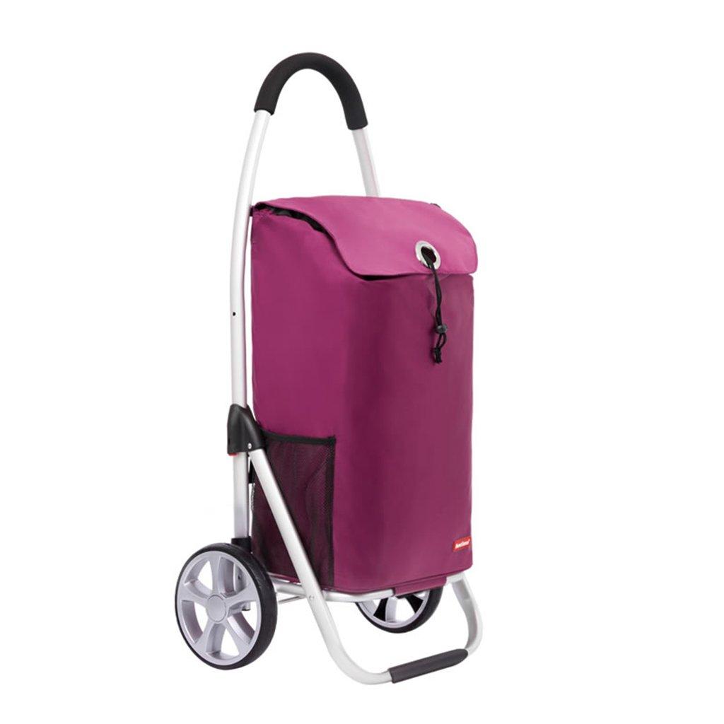 ショッピングカート、アルミニウム合金ショッピングトロリー、折り畳み式折り畳み式トロリー、多機能荷物カート (Color : Pink, Size : 100 * 35.5 * 46cm) B07FM3VL89 100*35.5*46cm|Pink Pink 100*35.5*46cm