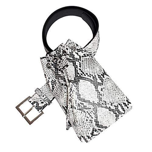 Snakeskin Pattern Fanny Pack Leather Drawstring Bum Waist Bag Cute Chest Shoulder Bags Belt Bag Full Grain Cross Body Purse Sport Travel Bags ()