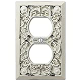 Filigree Antique White Cast 1 Duplex Wallplate