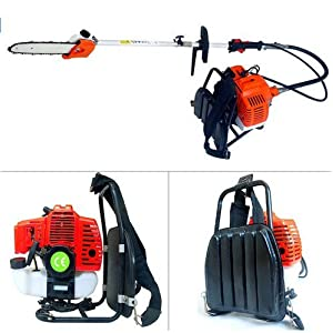 GOWE Backpack 43cc Long Reach Pole Chainsaw, Petrol Chain Saw Brush Tree Cutter Pruner