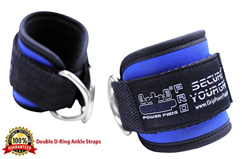 Grip Strap Pad - Grip Power Pads Best Ankle Straps for Cable Machines Double D-Ring Adjustable Neoprene Premium Cuffs to Enhance Legs, Abs & Glutes For Men & Women (Blue, Pair)