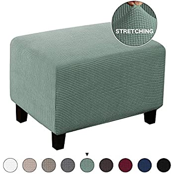 Fabulous Turquoize Jacquard Ottoman Cover Stretch Storage Ottoman Slipcover Protector Covers Stretch Fabric Sofa Slipcover Footstool Cover Footrest Protector Caraccident5 Cool Chair Designs And Ideas Caraccident5Info