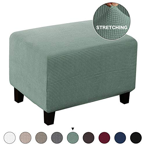 Turquoize Jacquard Ottoman Cover Stretch Storage Ottoman Slipcover Protector Covers Stretch Fabric Sofa Slipcover Footstool Cover Footrest Protector for Dogs (Ottoman, Dark Cyan)