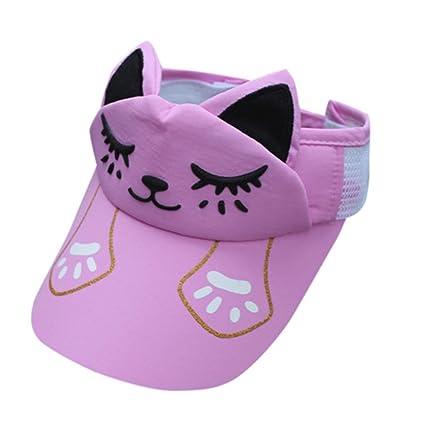 dbfd14eef72 Baby Kids Cute Cat Pattern Mesh Breathable Hat Visor-Visor Cap (Pink)