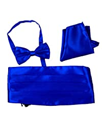 Men's Satin Cummerbund Bowtie Pocket Square Hanky Set for Tuxedo Wedding 10 Colors