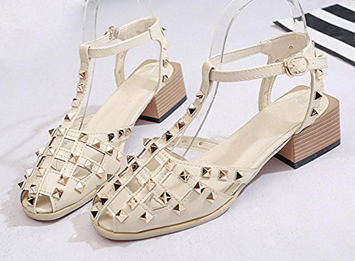 Baotou Hohlnieten dick mit Sommer Sandalen Sommer Sandalen Mode meters white