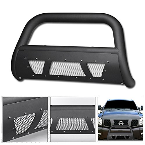 (VXMOTOR for 2004/2005-2015 Nissan Titan ; Armada Matte Black Studded Mesh Bull Bar Brush Push Front Bumper Grill Grille Guard with Skid Plate)