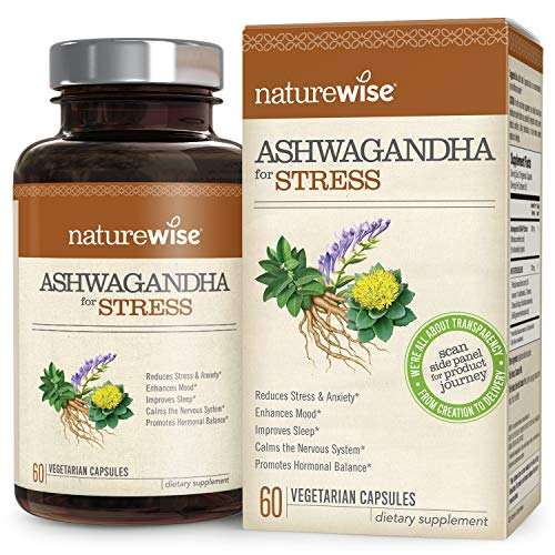 NatureWise Ashwagandha for Stress Relief – KSM 66 Ashwagandha Organic Extract with GABA, L-Theanine, More for Everyday Stress & Anxiety Relief (⬇ Watch Product Video in Images) 60 Veggie Capsules