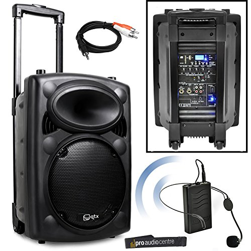 qtx qr10pa portable pa system with vhf wireless headset microphone battery powered speaker. Black Bedroom Furniture Sets. Home Design Ideas