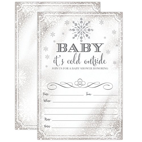 Christmas Baby Shower Invitations (Baby It's Cold Outside Invite - Snowflake Baby Shower Invitation - Christmas Winter Wonderland Baby Shower Invites, 20 Fill in Invitations and)