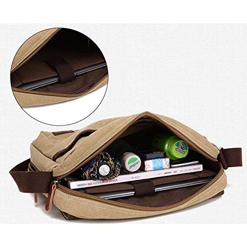 Outreo Schultertasche Vintage Umhängetasche Herren Messenger Taschen Canvas Kuriertasche für Laptop Reisetasche Freizeit Herrentaschen Freitag Retro Schule Braun