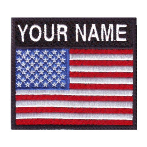 Usa Name Flag (USA Custom Badge Flag Name Embroidered Sew on Patch)