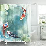 Fish Shower Curtain Fabric Emvency Shower Curtain Colorful Carp Fish Japanese Symbol in The Pond Watercolor Painting Orange Koi Asian Waterproof Polyester Fabric 72 x 72 inches Set with Hooks