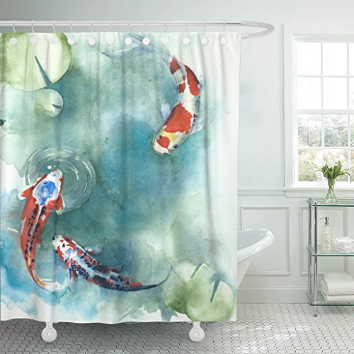 Emvency Shower Curtain Colorful Carp Fish Japanese Symbol in The Pond Watercolor Painting Orange Koi Asian Waterproof Polyester Fabric 72 x 72 inches Set with Hooks ()