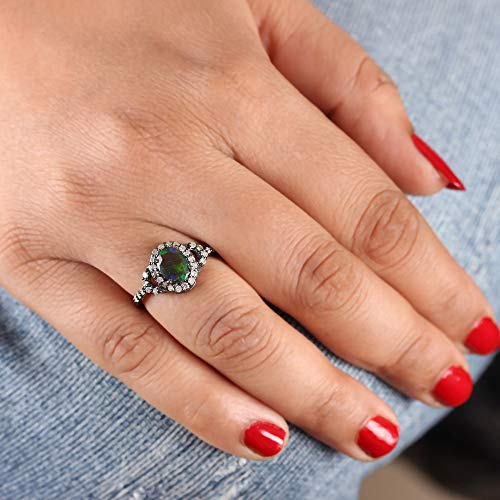 Genuine 0.90 Ct. Opal Gemstone Cocktail Ring Diamond Pave Vintage Style 925 Sterling Silver Handmade Jewelry Christmas Gift