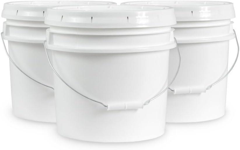 Ropak USA 3.5 Gallon Food Grade White Plastic Bucket with Handle & Lid - Set of 3