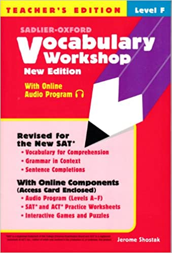 Amazon.com: Vocabulary Workshop Level F - Teacher's Edition ...