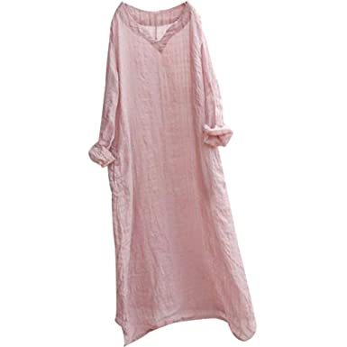 5a0cfee913 BUYKUD Women Loose Lattice Casual Linen Cotton Pink Dress V Neck Shirt Dress  at Amazon Women s Clothing store