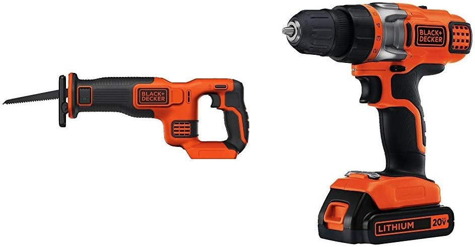 BLACK+DECKER BDCR20B 20V Max Lithium Bare Reciprocating Saw with BLACK+DECKER LDX220C 20V MAX 2-Speed Cordless Drill Driver (Includes Battery and Charger)