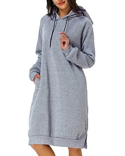 - Kidsform Women Autumn Long Sleeve Loose Hoodies Hooded Sweatshirt Fleece Long Dress Grey S