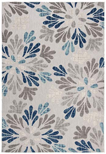 Safavieh CBN800F-4 Cabana Collection CBN800F Grey and Blue Premium Polyester (4' x 6') Area Rug,