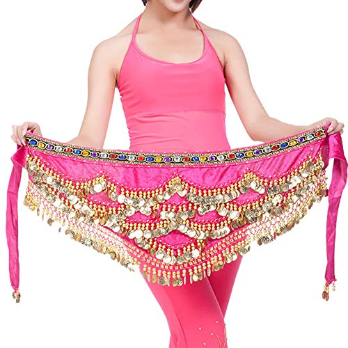 (Lady Girls' Belly Dancing Belt Waist Chain Belly Dance Hip Scarf Belt Tribal Sash-Colorful Designed-New Arrival (Hot Pink 2, One Size))