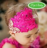 Nicerocker Lovely Ovely Unusal Cotton Girls Baby Red Feather Hairband with Rose Bow