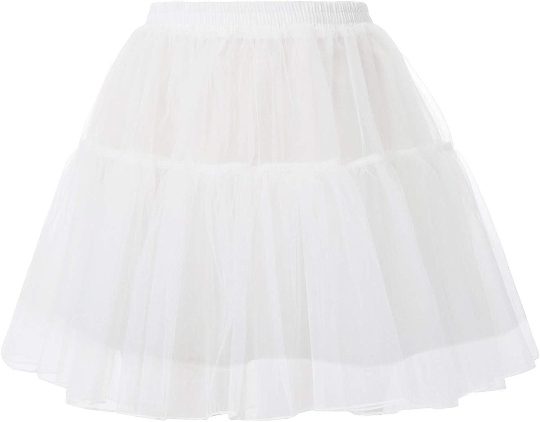 GRACE KARIN Donna Gonna in Tulle Tutu Sottogonna Vita Elastica Organza Petticoats Vintage