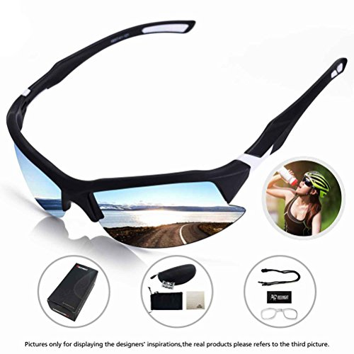 ROCKNIGHT Cycling Glasses Polarized Sports Sunglasses for Men Women Baseball Running Driving Fishing Golf UV Protection#879 White