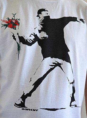 """Faces Herren T-shirt Street Art """"BANKSY Flower Thrower""""Handserigraphie mit Wasser"""