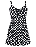 Septangle Women's Swimsuit One Piece Large Polka Dots Skirt Bathing Suit Ruffled Hem Swimdress (White,US 14)