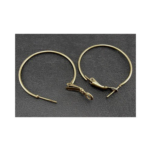 Packet of 10 x Antique Bronze Plated Iron 35mm Hoop Earrings - (HA12280) - Charming Beads ()