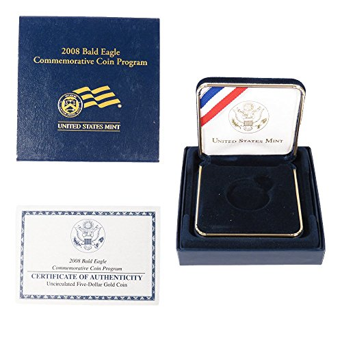 Bald 2008 Coins Eagle (2008 W Proof $5 American Bald Eagle Commemorative Box, OGP & COA (No Coins) $5 -)