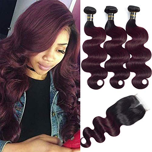 (10A Brazilian Remy Hair Body Wave Bundles with Closure 2 Tone Ombre Hair 20