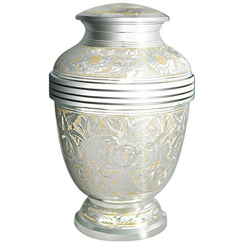 - MEILINXU Cremation Urns by Funeral Urn for Human Ashes Adult and Memorial- Hand Made in Brass/Hand Engraved - Display Burial Urn At Home or in Niche at Columbarium (Silvery Shine, Large keepsake Urn