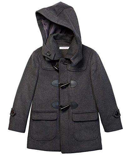 Boys Dress Coats - Isaac Mizrahi Boy's CT1004 Solid Wool Toggle Coat with Removble Hood - Charcoal - 4