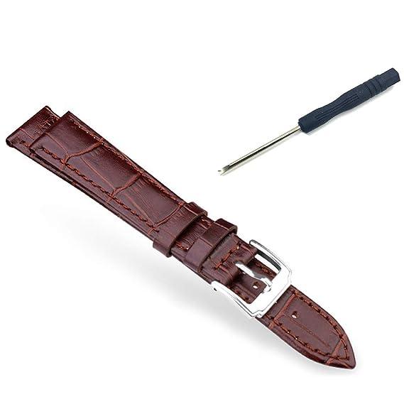03b0ecbffd53 Correa de Reloj para Hombre de Piel auténtica, Color marrón, Pulsera ...