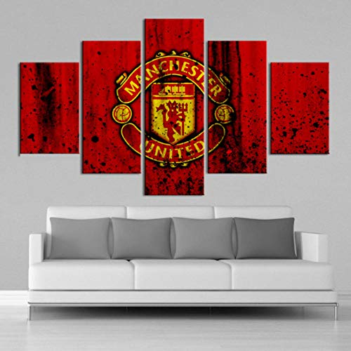 BLANKID Creative 5 Pieces Manchester United Flag Sports Wall Posters Football Canvas Paintings Art Prints Pictures Boys Bedroom Decor Framed