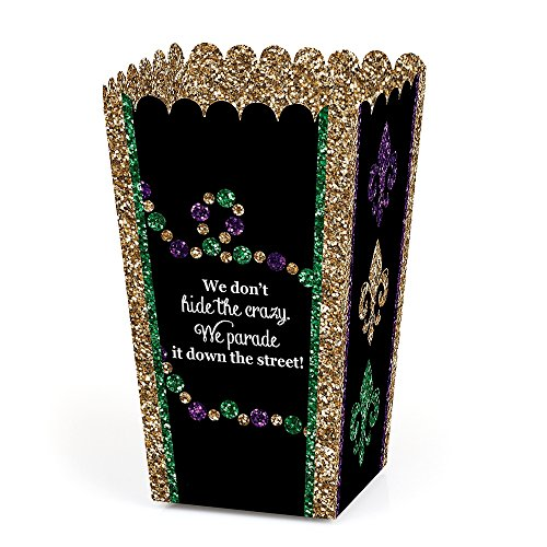 Mardi Gras - Masquerade Party Popcorn Favor Treat Boxes - Set of (Mardi Gras Treats)