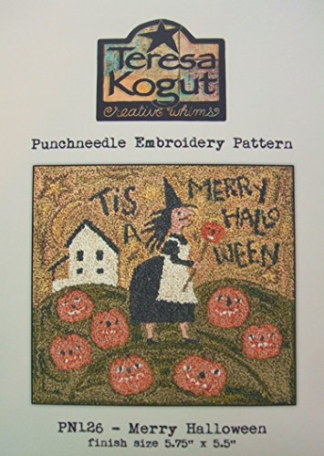 Merry Halloween Witch Punchneedle Punch Needle Embroidery Teresa Kogut Pattern PN126 Autumn Fall -