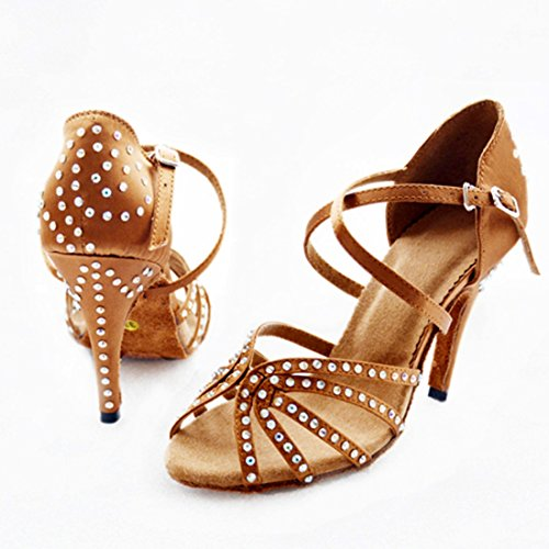 Tda Dames Enkelband Stiletto Hoge Hak Kristallen Satijn Salsa Tango Samba Moderne Latin Dansschoenen 8.5cm Bruin