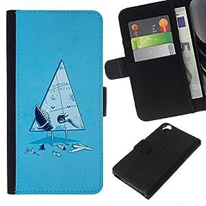 All Phone Most Case / Oferta Especial Cáscara Funda de cuero Monedero Cubierta de proteccion Caso / Wallet Case for HTC Desire 820 // Funny Bermuda Triangle
