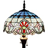 Tiffany Baroque Style Floor Standing Lamp 64 Inch Tall Pink Blue Stained Glass Shade 2 Light Pull Chain
