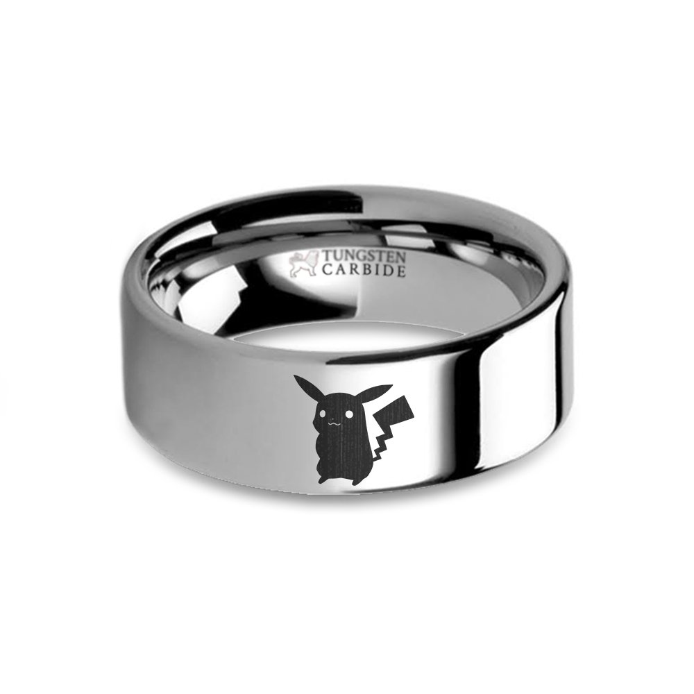Hanover Jewelers Pokemon Pikachu Laser Engraved Tungsten Carbide Wedding Band - 8 mm