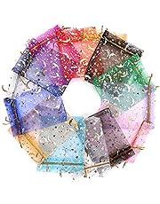 Soapow 100 Stuks Diverse Kleur Organza Koord Zakjes Gift Bags Gemengde Kleur Wedding Favor Tassen