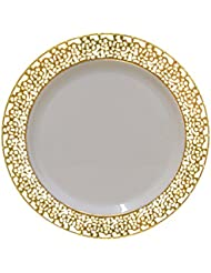 christmas 75 inch plastic plates trimmed with gold lace pack of 40 elegant disposable china