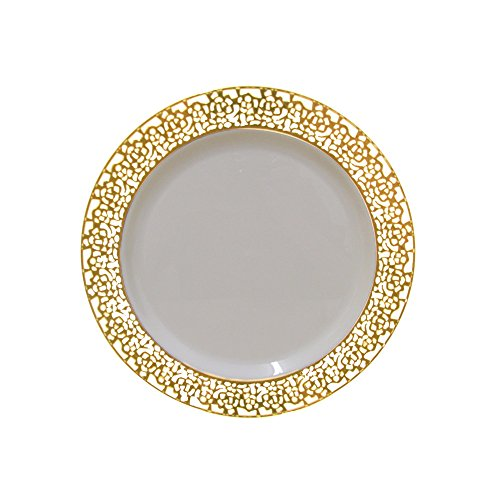 7.5 Inch Plastic Plates Trimmed With Gold Lace. Pack Of 40 Elegant Disposable China Like Dinnerware. 7.5