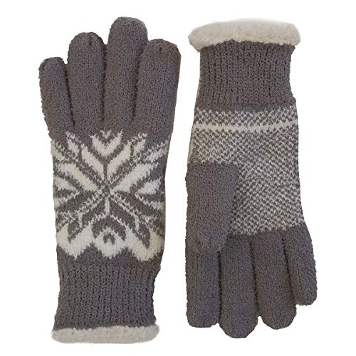 - Isotoner Women's Casual Knit Snowflake Fleece Lined Glove, One Size Fits Most Chrome