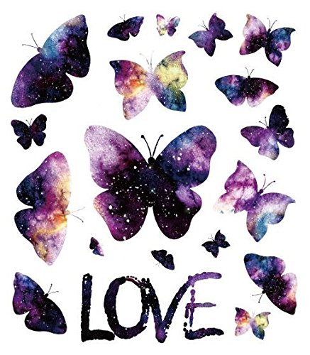 SanerLian Waterproof Temporary Fake Tattoo Stickers Watercolor Purple Butterfly Love Unique Set of 2