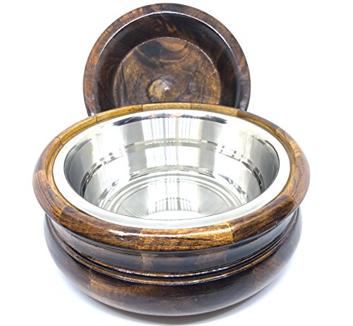 Handcrafted Wooden 8'' Chapati Box Casserole Food Container with Stainless Steel Pot with Lid by Generic (Image #3)